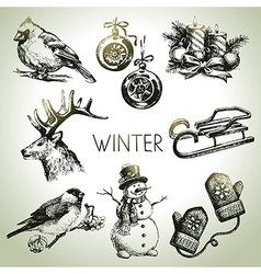 Hand drawn winter Christmas set vector image