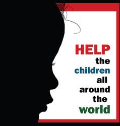 help children around the world silhouette vector image vector image