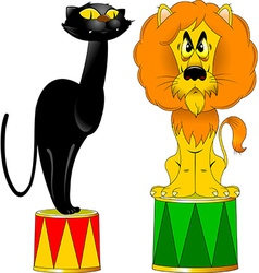 lion and a panther on a pedestal vector image