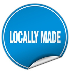 Locally made round blue sticker isolated on white vector