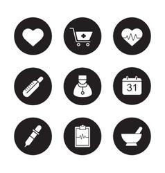 Medical black icons set vector
