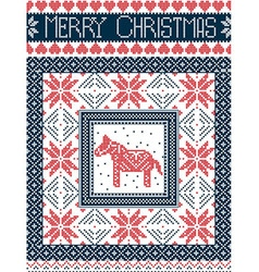 Merry christmas card with dala horse in red blue vector