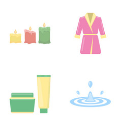 Multicolored burning candles a pink robe with a vector
