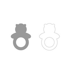 Rattle grey set icon vector