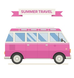 Rv travel family bus icon in flat vector