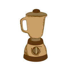Sepia silhouette with kitchen blender vector