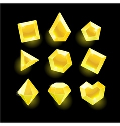 Set of cartoon yellow different shapes crystals vector image vector image