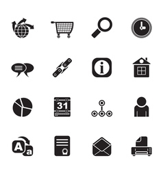 Silhouette internet and computer icons vector