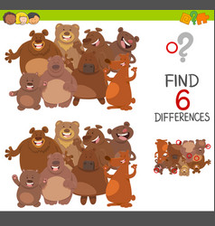 Spot differences game with bears vector