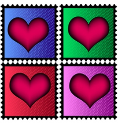 Stamps with heart vector
