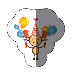 Sticker colorful monkey animal with hat party and vector