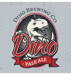 T-rex brewery insignia design Pale ale label vector image