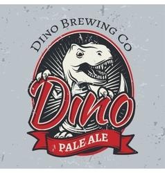 T-rex brewery insignia design pale ale label vector