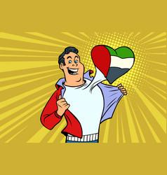 Uae patriot male sports fan flag heart vector