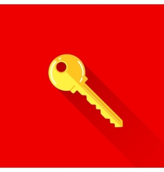 vintage of a key in flat style with long shadow vector image