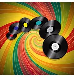 Vinyl records over multicolor vintage swirl vector image