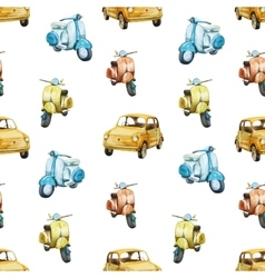 Watercolor retro scooter and car pattern vector