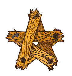 Wooden five pointed star of the broken boards vector