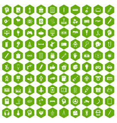 100 creative idea icons hexagon green vector