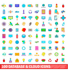100 database and cloud icons set cartoon style vector image
