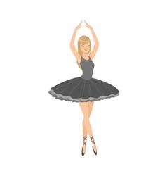 Balleria in black tutu performing vector