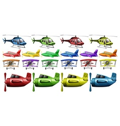 Different kinds of helicopter and planes vector image