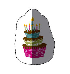 Sticker colorful cake three floors with candles vector