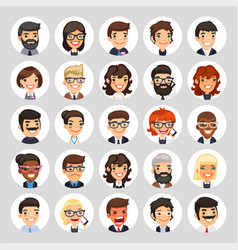 flat business round avatars on white vector image