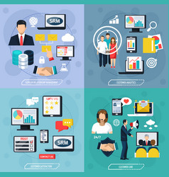crm flat design concept vector image