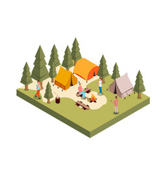 Forest camp isometric composition vector