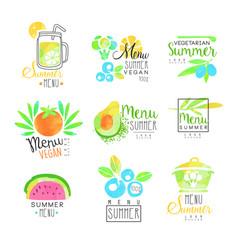 Summer vegetarian menu set for logo design vector