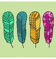 Set of four isolated hand drawn feather vector