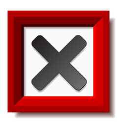 Red negative checkmark vector