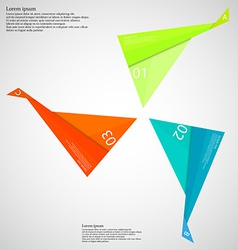 Infographic consists of three folded paper pieces vector
