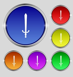 Sword icon sign round symbol on bright colourful vector
