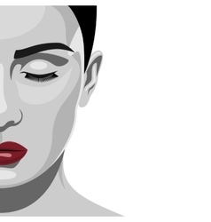 Brunette fashion beauty woman with red lips vector