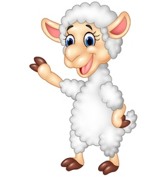 Cute funny sheep waving hand isolated vector