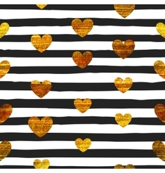 Seamless pattern of gold hearts vector