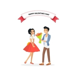 Happy valentine day couple man give flower woman vector