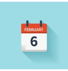 February 6 flat daily calendar icon date vector
