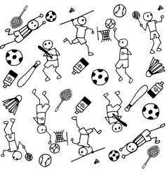 Sports people of doodle vector