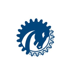 War horse head gear blue print retro vector