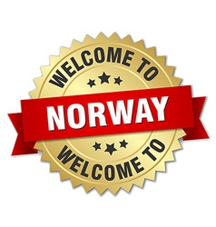 Norway 3d gold badge with red ribbon vector