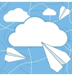 Paper planes and cloud background vector