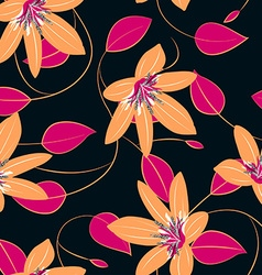 Orange hibiscus flowers and leaves seamless vector image