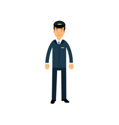 airline pilot in blue uniform standing with bag vector image vector image
