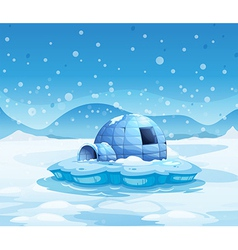 An iceberg with an igloo vector image vector image