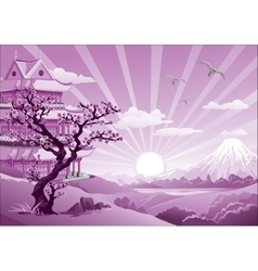 Asian Palace - the landscape in purple tones vector image vector image