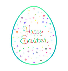 beautiful blue outline easter egg with colored vector image vector image