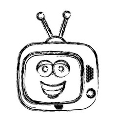 Blurred silhouette of antique tv device with smile vector